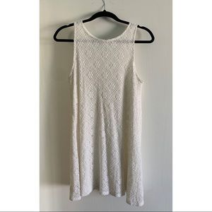 White Geometric Lace Dress